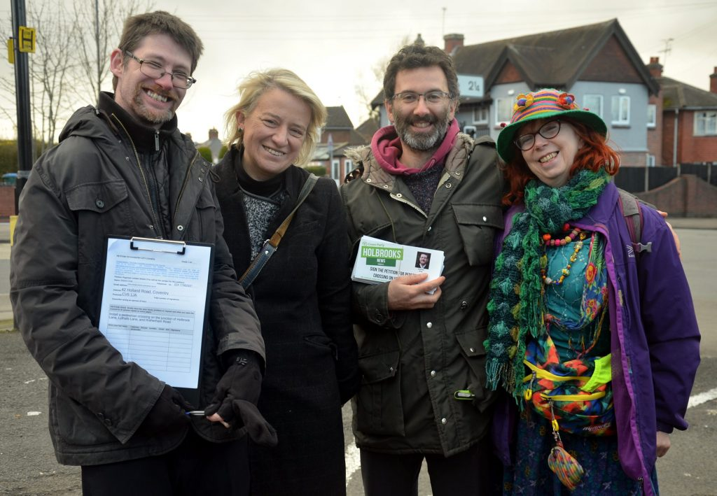 Stephen with Nathalie and other Coventry residents